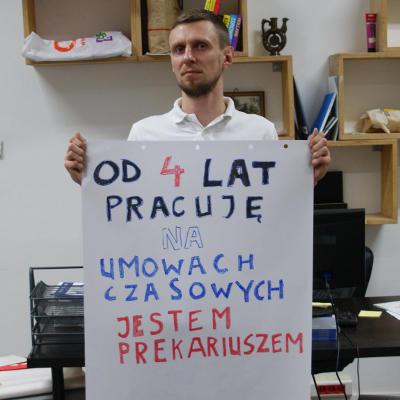 Pracownik administracji publicznej Jakub Grzegorczyk. Akcja JA PREKARIUSZKA / JA PREKARIUSZ