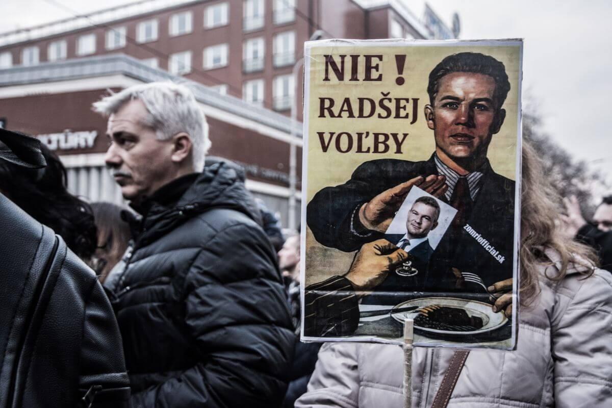 Reportaż z protestów w Bratysławie, 2018 rok. Fot. Saša Uhlová