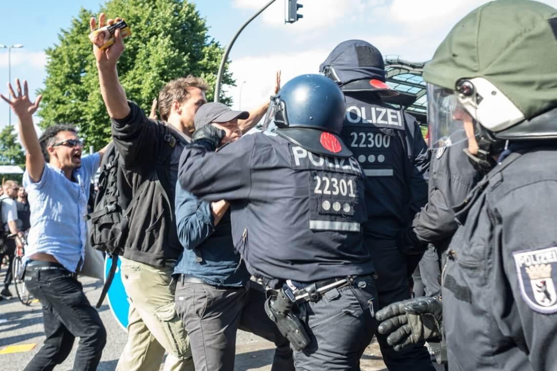 Protesty na szczycie G20 w Hamburgu, 2017 rok Fot. Jakub Szafrański