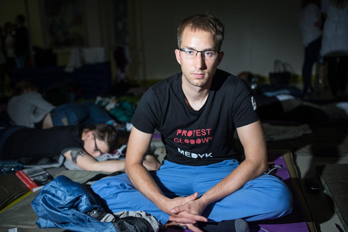 Strajk głodowy lekarzy rezydentów. Październik 2017. Fot. Jakub Szafrański.