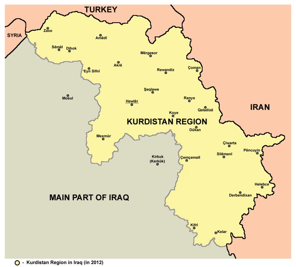 Mapa Kurdystanu w Iraku, 2009 rok. Fot. Wikimedia Commons, CC