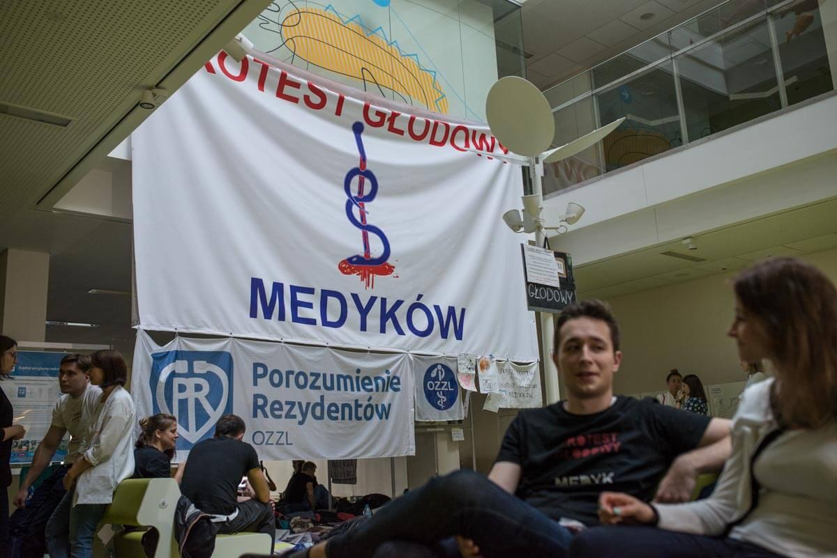 Protest głodowy lekarzy rezydentów. Październik 2017. Fot. Jakub Szafrański.