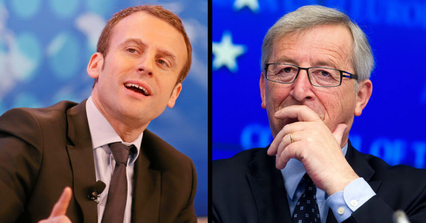 Emmanuel Macron i Jean-Claude Juncker. Fot. Theduran.com, World Economic Forum.