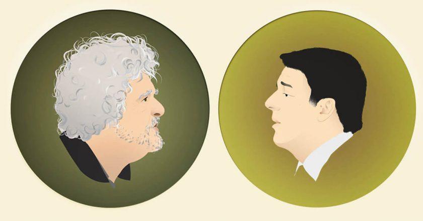 Beppe Grillo i Matteo Renzi. Ilustracja: Elena Dan, Wszystkie prawa zastrzeżone
