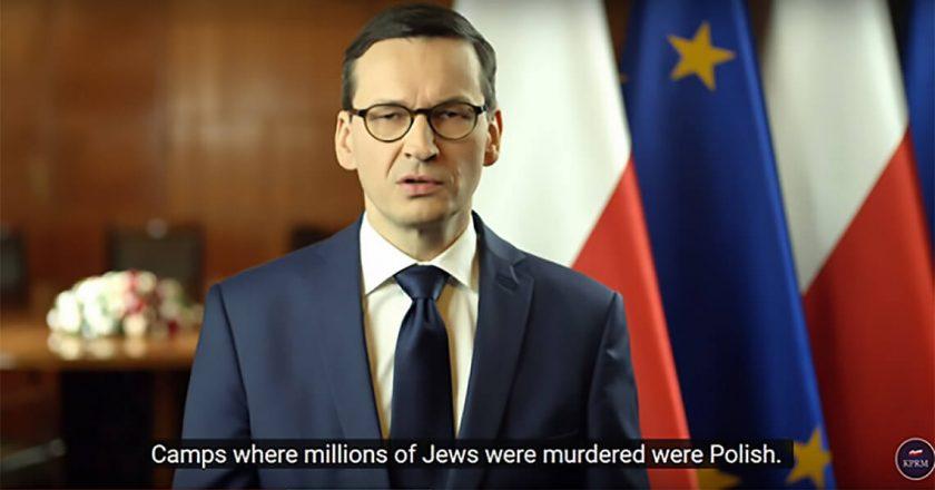 Zrzut ekranu. Oświadczenie premiera Morawieckiego z automatycznym tłumaczeniem YouTube.