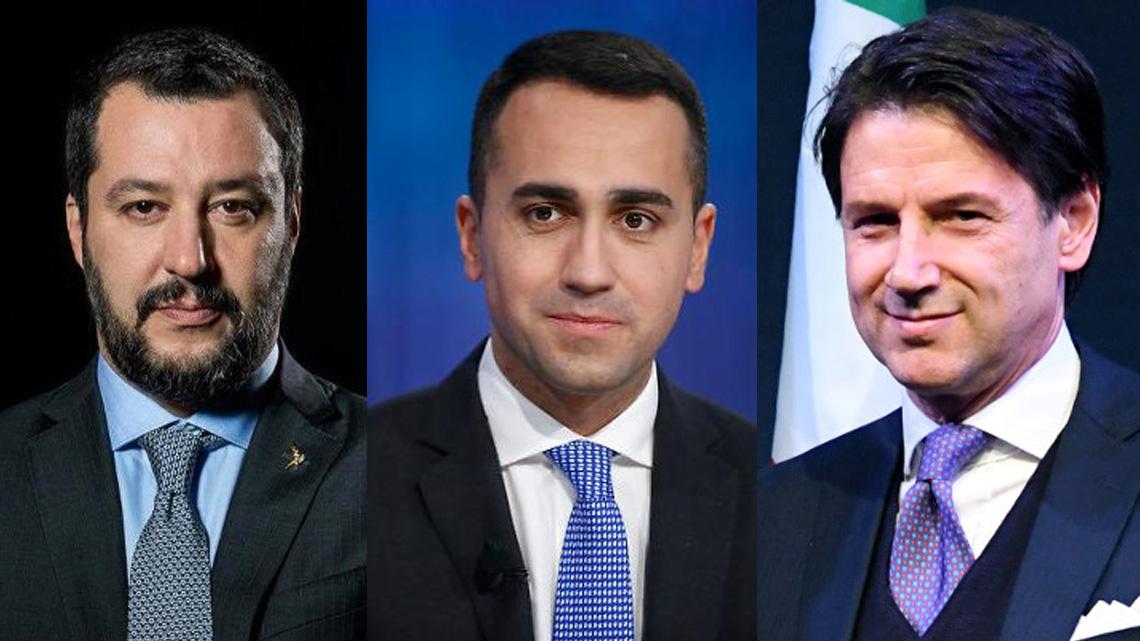 Matteo Salvini, Luigi Di Maio, Giuseppe Conte. Fot. FB, AFP, fotoedycja KP