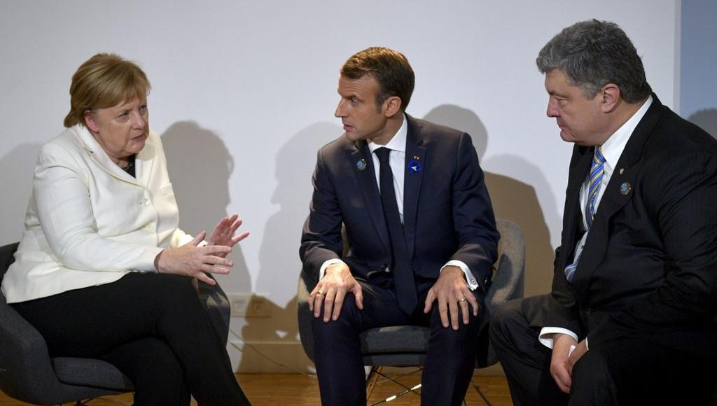Angela Merkel, Emmanuel Macron, Petro Poroszenko. Fot. administracja prezydenta Ukrainy, CC BY 4.0