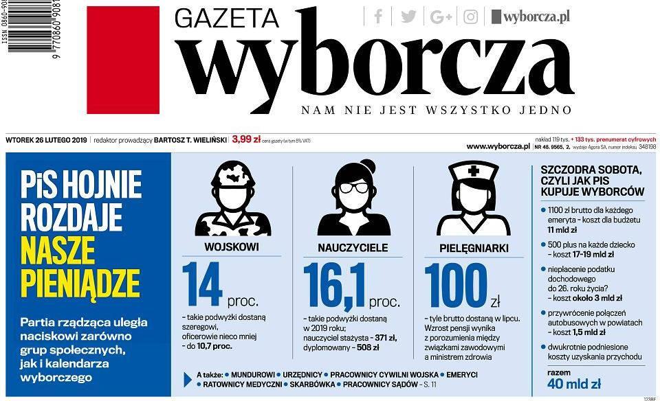 Gazeta Wyborcza, okładka z 26 lutego 2019 r.