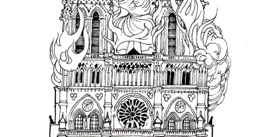 Pożar Notre Dame. Rys. Bruno Althamer.
