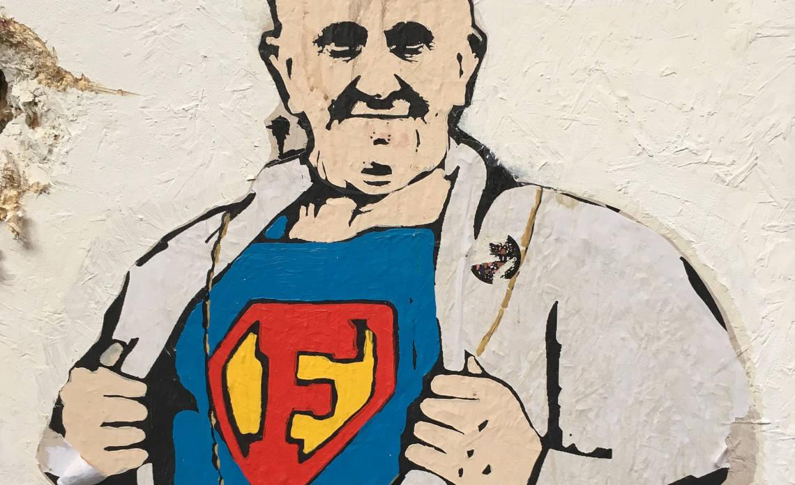 Papież Franciszek na graffiti w Rzymie. Fot. Christoph Wagener, CC BY 3.0