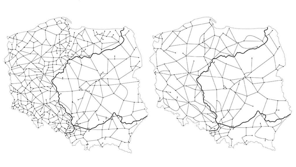 Mapy pokazujące różnice w liczbie linii kolejowych w roku 1989 (po lewej) i 2009 (po prawej)
