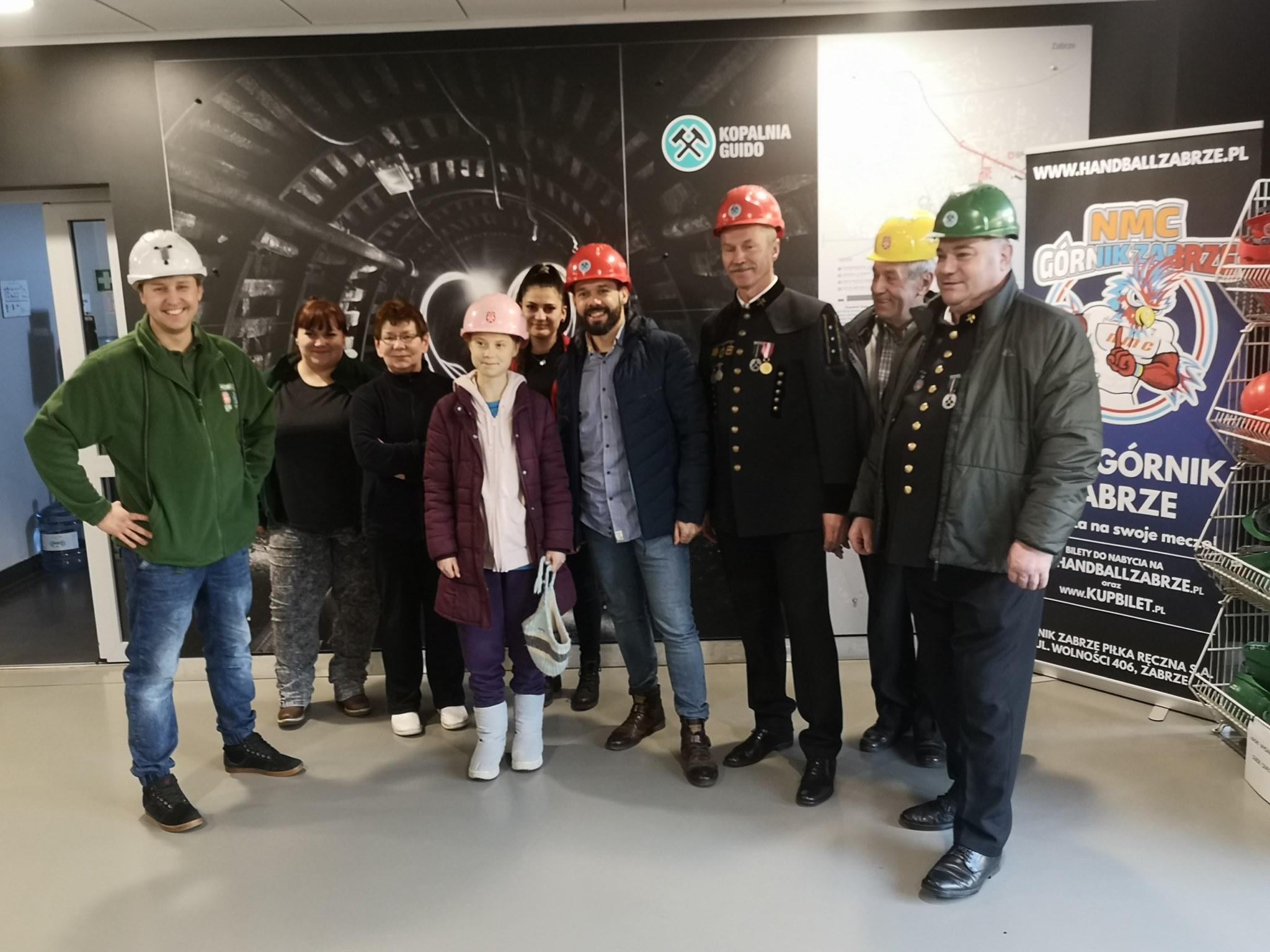 Greta Thunberg z polskimi górnikami w Zabrzu. Fot. Facebook/Jerzy Hubka