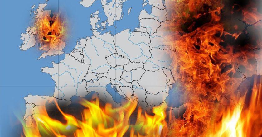 Europa w ogniu. Fot.: Wikicommons, Pixabay. Fotoedycja KP.