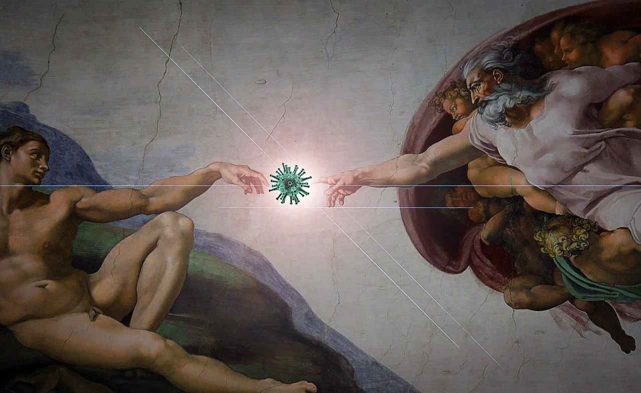 michal-aniol-stworzenie-adama-koronawirus