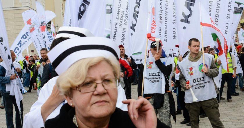 Działaczki Forum Związków Zawodowych. Fot. Jakub Szafrański