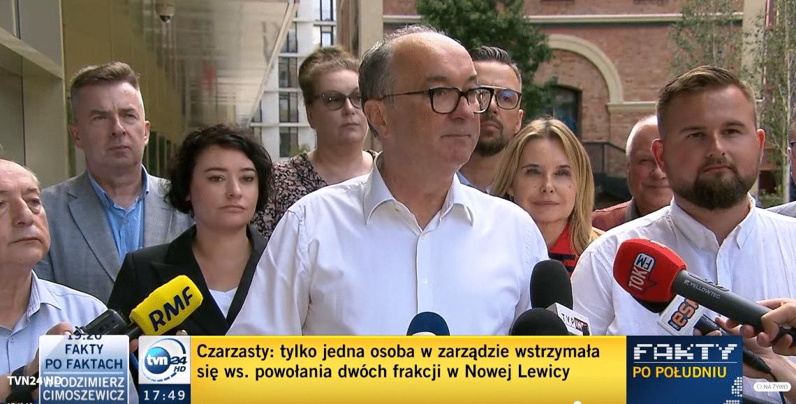 Konferencja prasowa Włodzimierza Czarzastego 17 lipca. Fot. screen Tvn24
